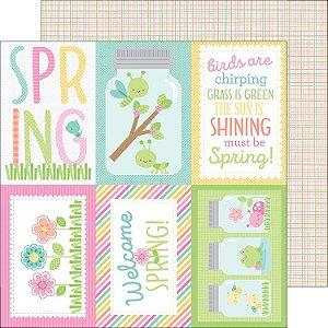 Papel de scrapbook  30x30 - Spring Things - Butterfly Net Doodlebug