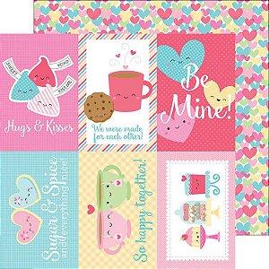 Papel de scrapbook 30x30 - Cream & Sugar - Falling in Love Doodlebug