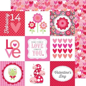 Papel de scrapbook 30x30  - Lovebugs - All my Heart - Doodlebugs