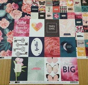 Kit 3 Papéis de scrapbook 30x30 Tags e Flores - Pink Paislee