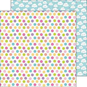 Papel de Scrapbook 30x30 - Fairy Tales -  Princess Polka dots - Doodlebug