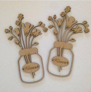 Apliques em MDF Vasos com Flores - Arte Fácil