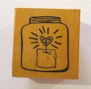 Carimbo de madeira Pote com vela de coração - Arte Fácil