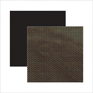 Papel para scrapbook 30x30 Marroquino Dourado Preto  TEC