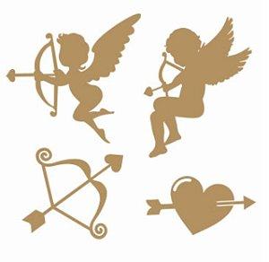 Apliques em MDF Anjos Amor - Arte Fácil