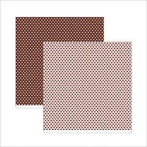 Papel para scrapbook - 30x30 - Rosa Vintage Coração - TEC