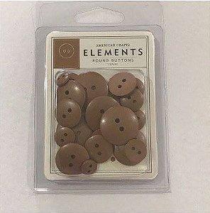 Botões  Marrom claro Copper com 24 peças - American Crafts