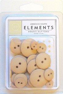 Botões Bege - Brown Sugar com 24 peças - American Crafts