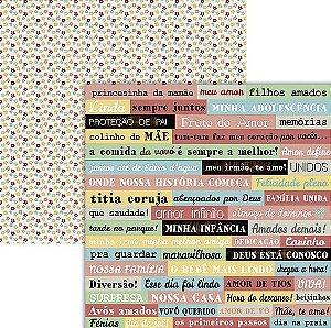 Papel scrapbook Família Frases - Ok Scrapbook