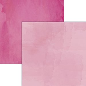 Papel scrapbook Rosa Claro e Escuro Aquarela - Ok Scrapbook
