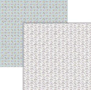 Papel scrapbook Nuvens mágicas - Coleção Unicórnios - Ok Scrapbook