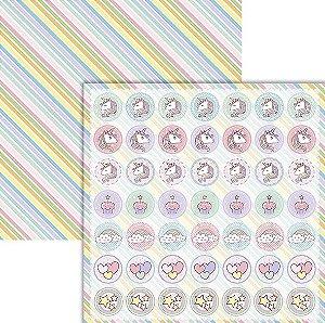 Papel scrapbook Unicórnio Tags - Coleção Unicórnios - Ok Scrapbook