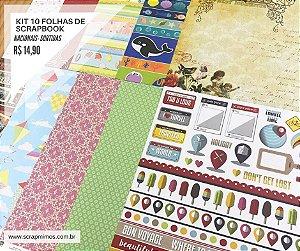 Kit 10 papéis de scrapbook 30x30 - SORTIDAS - Marcas Nacionais