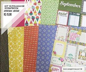 Kit 10 papéis de scrapbook 30x30 - SORTIDAS - Marcas Importadas