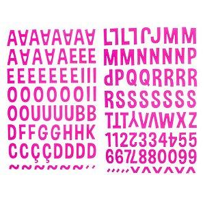 Adesivos alfabeto EVA Rosa Pink - Toke e Crie