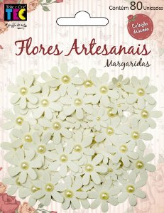 Flores artesanais Margaridas - Marfim - Coleção Delicada - Toke e Crie