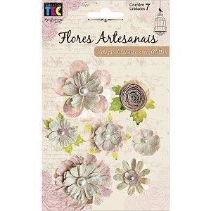 Flores artesanais sortidas - Coleção Clássica - Rose - Toke e Crie