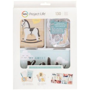 Kit de cards e die cuts com foil Little you Boys - Bebê Menino 130 peças - Project Life