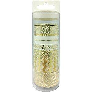Kit de washi tape com 8 fitas - Dourado - Little B