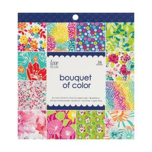 Bloco de papéis 15x15 Bouquet of Color - Floral - Love Nicole