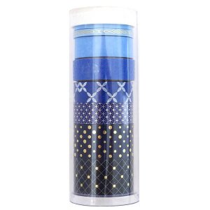 Kit de washi tape com 8 fitas - Tons azul com foil dourado - Little B