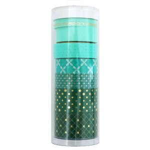 Kit de washi tape com 8 fitas - Tons verde com foil dourado - Little B