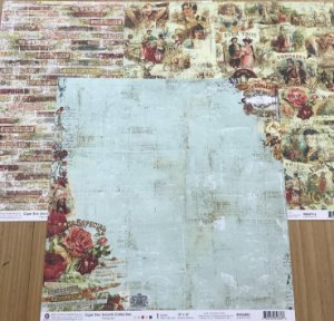 Kit com 03 papeis de scrapbook 30x30  - dupla face - Cigar Box - Prima