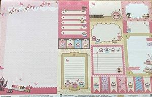 Kit com 02 papeis de scrapbook 30x30 - Dupla Face - Cupcake - TEC