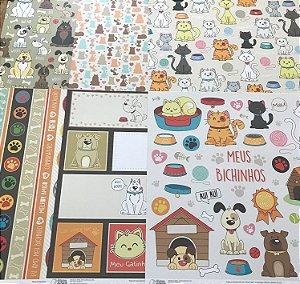 Kit com 06 papeis de scrapbook 30x30 - dupla face - Bichinhos - Oficina do Papel