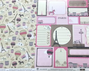 Kit com 02 papeis de scrapbook 30x30 - Dupla Face - Paris - TEC