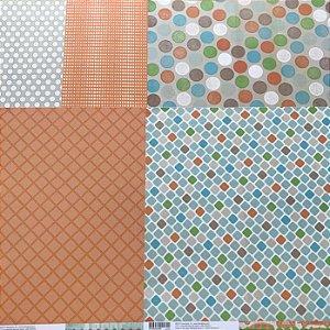 Kit com 05 papeis de scrapbook 30x30 - dupla face - Bow Ties - Basic Grey