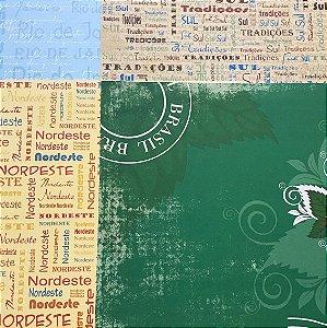 Kit com 04 papeis de scrapbook 30x30 - dupla face - Viajando pelo Brasil - TEC