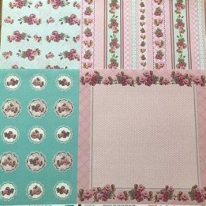 Kit com 04 papeis de scrapbook 30x30 - dupla face - Rosas Delicadas - TEC