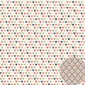 Papel para scrapbook - 30x30 - Dupla Face - Para Sempre - Corações - Oficina do Papel