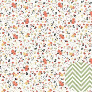 Papel para scrapbook - 30x30 - Dupla Face - Para Sempre - Floral - Oficina do Papel
