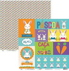Papel para scrapbook - 30x30 - Dupla Face - Mix Páscoa e Corações - Ok Scrapbook
