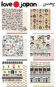 Kit com 06 papeis de scrapbook 30x30 - Dupla Face - Love Japan - Goodies