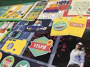 Kit de material + passo-a-passo Página Dupla - Tema Viagem - Nacional