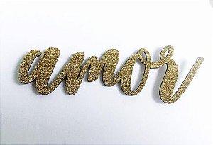 Aplique chipboard Amor - Dourado com glitter - Linha Era uma vez - Dany Peres