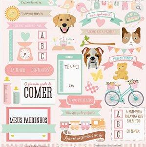 Papel scrapbook 30x30 Infográfico - Linha Cecilia Peres - Dany Peres