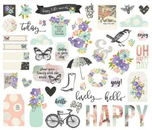Die Cuts - Bits And Pieces - 48 peças -  Bliss - Simple Stories