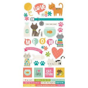 Adesivos 15x30 - Life is Purrfect - Gato - Simple Stories