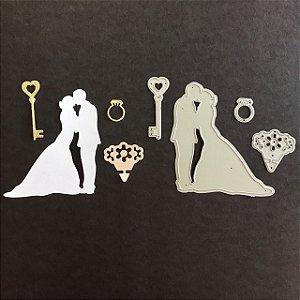 Kit de facas 4 peças Casamento FAC044-A - Art e Montagem