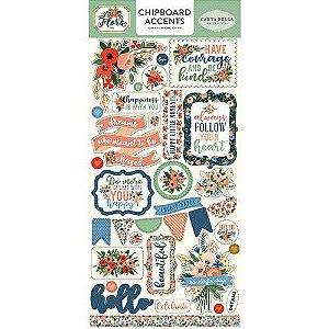 Adesivos em chipboard 15x30 - Flora n. 2 - Carta Bella