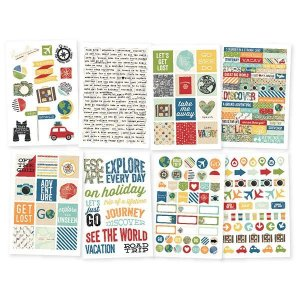 Adesivos 8 cartelas Viagem - Travel Notes - Simple Stories
