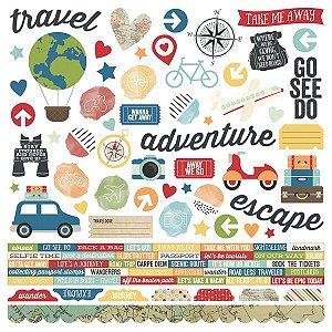 Adesivos tamanho 30x30cm Viagem - Travel Notes - Simple Stories