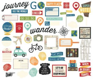 Die cuts (recortes de papel) Viagem - Travel Notes - Simple Stories