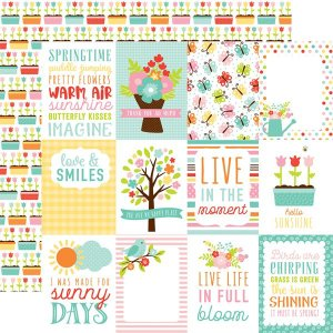 Papel Scrapbook - Hello Spring - 3x4 Journaling Cards - Echo Park