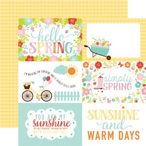 Papel Scrapbook - Hello Spring - 4x6 Journaling Cards - Echo Park