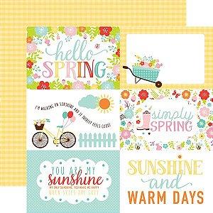 Papel Scrapbook - Hello Spring - 4x6 Journaling Cards - Echo Park